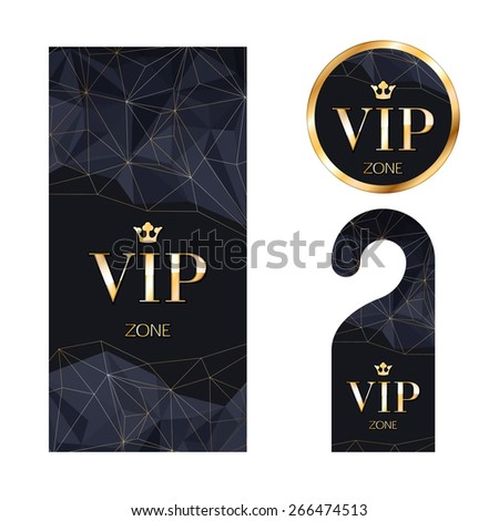 Vip invitation stock images royalty free images vectors vip zone members premium invitation card warning hanger and round label badge black and stopboris Image collections