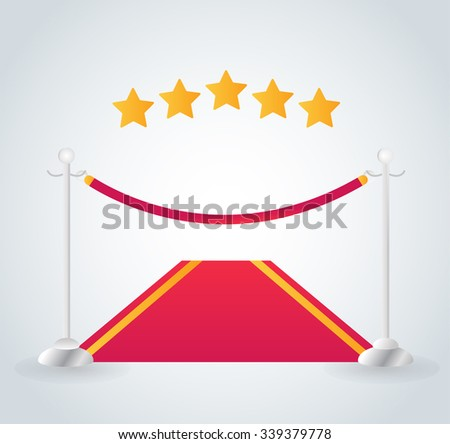 VIP zone red carpet vector illustration. Event enter with star. Success, theater, luxury, VIP. Vector Red Carpet isolated white background. Red carpet vector movie cinema stars.Museum place red carpet - stock vector