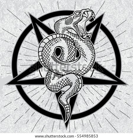 Viper snake in pentagram hand drawn vector illustration in outline technique with star rays