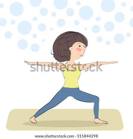 virabhadrasana. warrior pose. yoga pose for beginners - stock vector