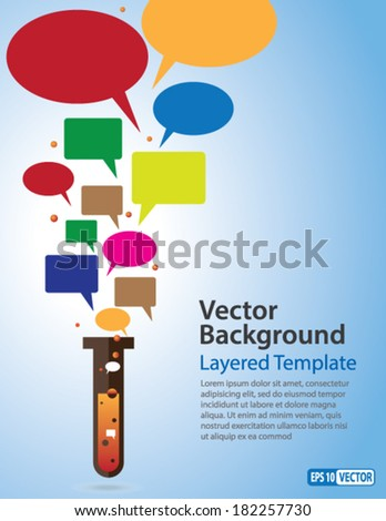 Viral marketing - Creative Concept showing Speech Bubbles coming out of Test Tube. - stock vector