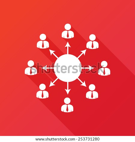 Viral marketing icon. Viral information spreading chain concept. Flat icon with long shadow - stock vector
