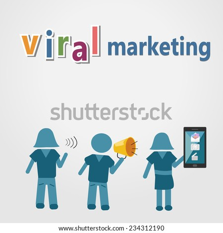 Viral marketing with technology for communicate - stock vector
