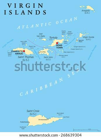 Virgin Islands Political Map An Island Group Between The Caribbean Sea And The Atlantic Ocean