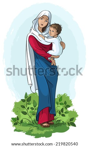 Virgin Mary holding baby Jesus. Also available raster and outlined version - stock vector