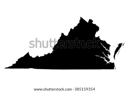 Virginia black map on white background vector - stock vector