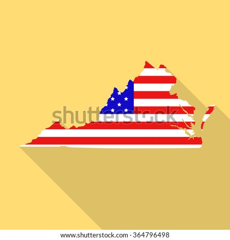 Virginia state map in style of USA national flag. Flat style with long shadow - stock vector