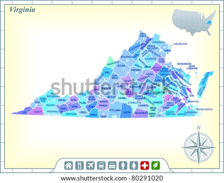 Virginia Map Stock Images RoyaltyFree Images Vectors - Virginia state map