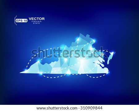 Virginia US state map polygonal with spot lights places - stock vector