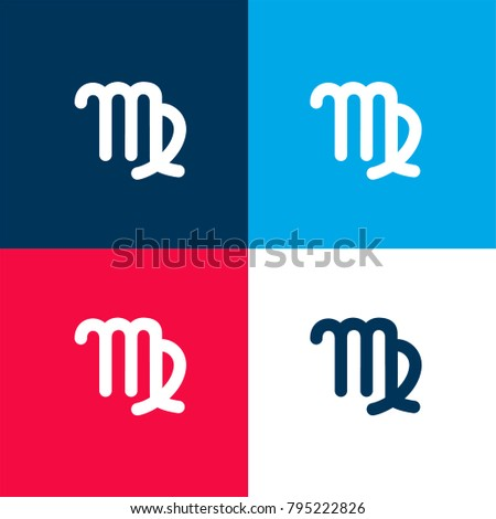 Virgo Astrological Symbol Sign Four Color Stock Vector 795222826