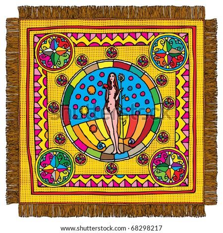 Virgo horoscope sign carpet - stock vector