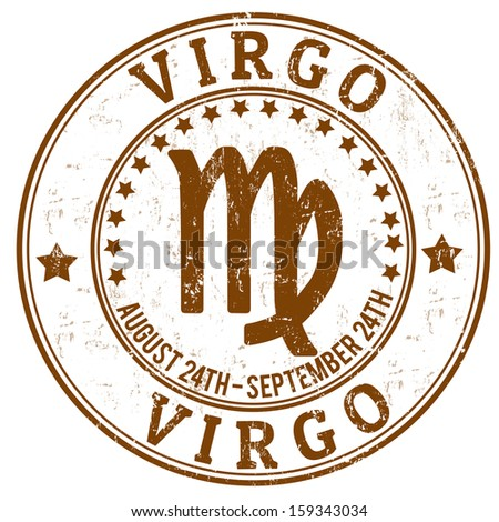Virgo zodiac astrology grunge stamp suitable for use on website, in print and promotional materials, and for advertising - stock vector