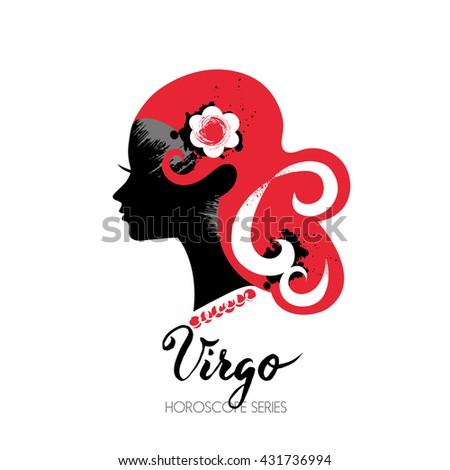 Virgo zodiac sign. Beautiful girl silhouette. Vector illustration. Horoscope series - stock vector
