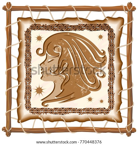 Virgo Zodiac Sign on Native Tribal and Grunge Leather Frame
