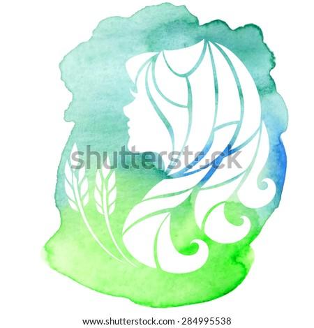 Virgo zodiac sign on watercolor background. Vector Illustration  - stock vector
