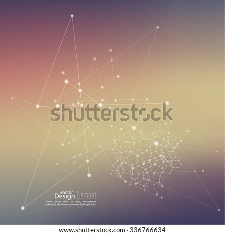 Virtual abstract background with particle, molecule structure. genetic and chemical compounds. Space and constellations. Science and connection concept. Social network. Blurry soft creative vector. - stock vector