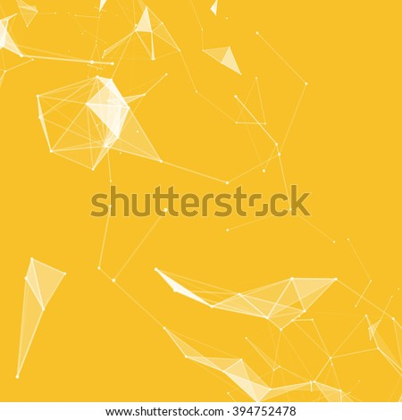 Virtual abstract background with particle, molecule structure. genetic and chemical compounds. creative vector Space and constellations Science and connection concept. Social network. Yellow and white - stock vector