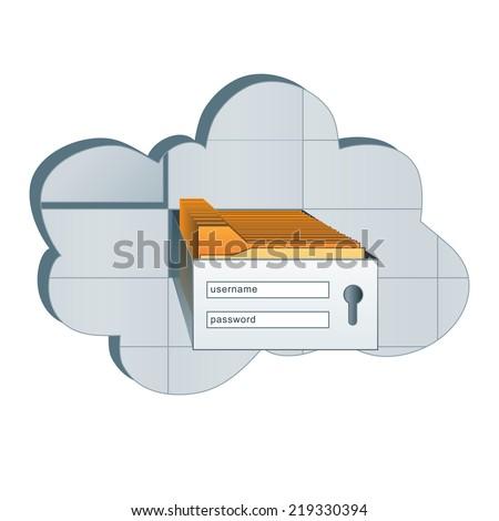 Virtual cloud storage, vector login form - stock vector