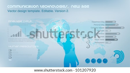 Virtual Girl operating Globe. World map on the background. Future technology concept. Design template. Vector. Editable. - stock vector