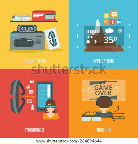 Virtual glasses design concept set with product range and applications flat icons isolated vector illustration - stock vector