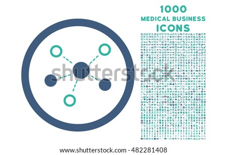 Virtual Links rounded vector bicolor icon with 1000 medical business icons. Set style is flat pictograms, cobalt and cyan colors, white background.