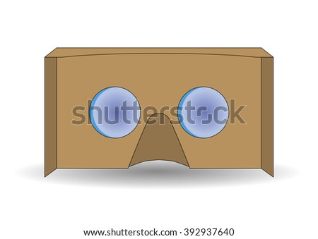 Virtual reality cardboard glasses. New entertainment gadget for use in immersive 3d experiences - stock vector
