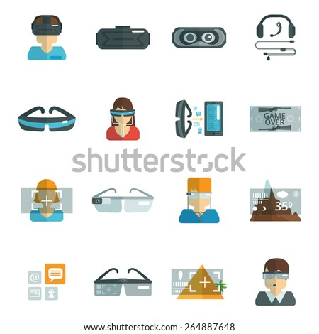 Virtual reality glasses headset optics flat icons set isolated vector illustration - stock vector