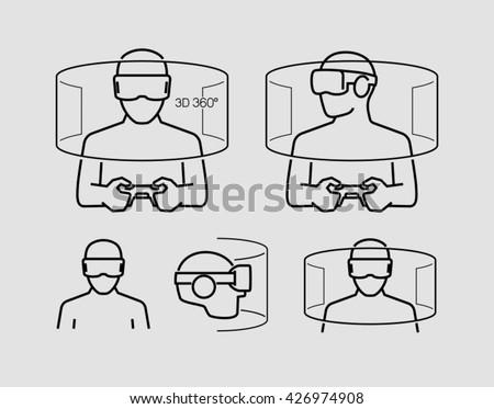Virtual Reality Glasses Icons - stock vector