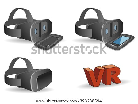 Virtual reality headset equipped with a mobile phone. stereoscopic glasses - stock vector