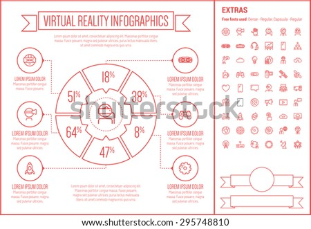 Virtual Reality infographic template and elements. The template includes the following set of icons - Virtual reality headset, gaming, robotic hand, and more. Modern minimalistic flat thin line vector - stock vector