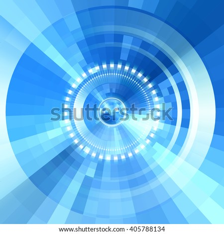 Virtual technology vector background.  Abstract blue futuristic  tunnel  background. - stock vector