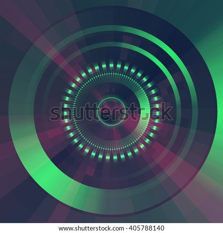 Virtual technology vector background.  Abstract green futuristic  tunnel  background. - stock vector