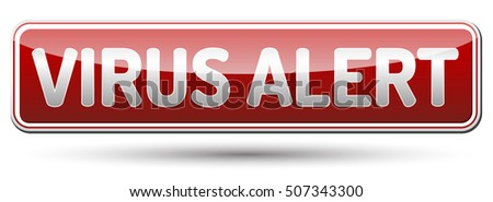 Virus Alert Sign - glossy banner with shadow