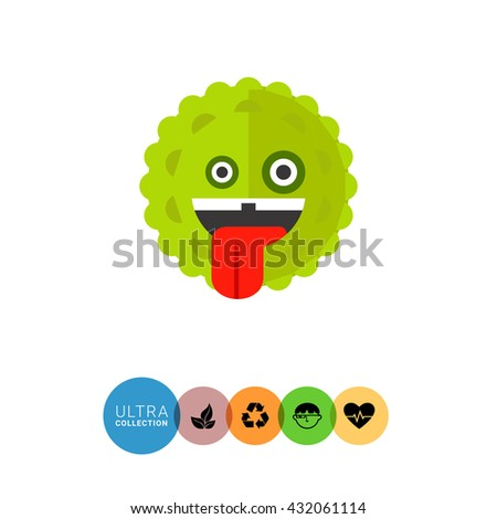 Virus Cartoon Character Icon 6 - stock vector