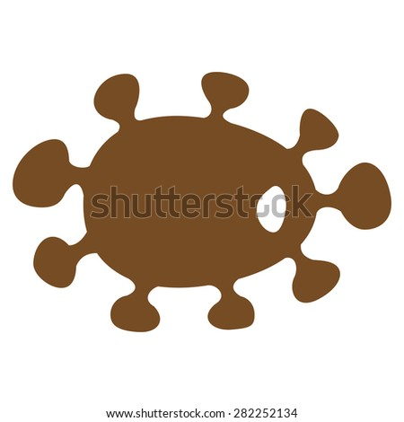 Virus icon from Basic Plain Icon Set. Style: flat vector image, brown color, rounded angles, white background. - stock vector
