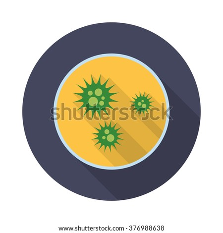 Virus icon with long shadow. Flat design style. Round icon. Petri dish silhouette. Simple icon. Modern flat icon in stylish colors. Web site page and mobile app design element. - stock vector