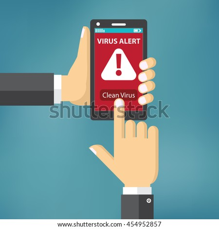 Virus on mobile phone concept. Hand holding mobile phone with virus alert text on the screen. Flat style