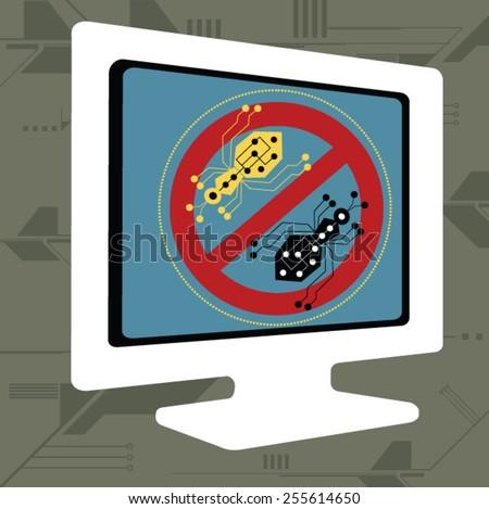 Virus warning sign on  computer screen - stock vector
