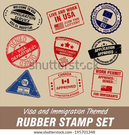 visa and immigration themed rubber stamp set - stock vector