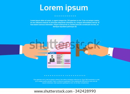 Visa Stamp Passport Flat Icon Businessman Hand Hold Travel Approved Document Vector Illustration - stock vector