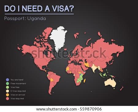 Visas information republic uganda passport holders stock vector visas information for republic of uganda passport holders year 2017 world map infographics showing sciox Images