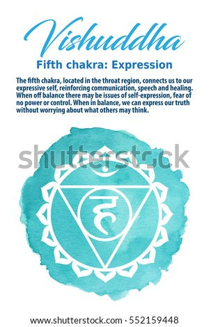Vishuddha Chakra symbol on a blue watercolor dot, vector illustration. The Throat Chakra
