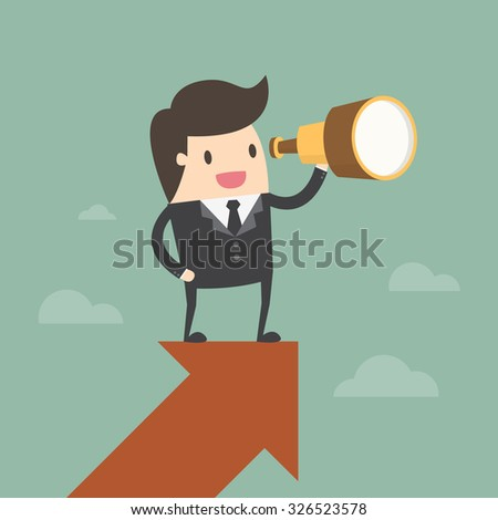 Vision and Growth concept. Businessman looks through a telescope on growth arrow. Business concept cartoon illustration