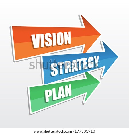 vision, strategy, plan - text in arrows, business development concept, flat design, vector - stock vector