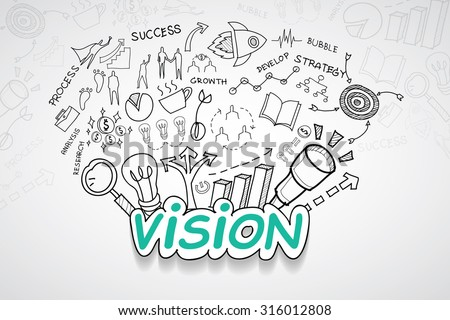Vision text, With creative drawing charts and graphs business success strategy plan idea, Inspiration concept modern design template workflow layout, diagram, step up options, Vector illustration - stock vector