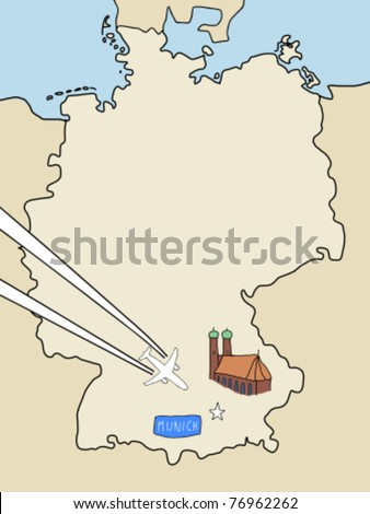 Visit Munich Outline Map Germany Plane Stock Vector - Germany map clipart