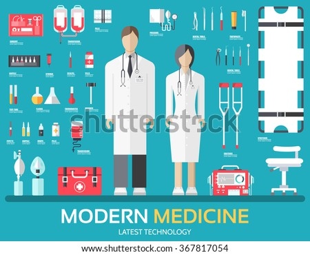 Visit to the doctor. Medicine supplies equipment around medical personnel and staff. Flat health care icons set illustration. Hospital elements design background concept - stock vector