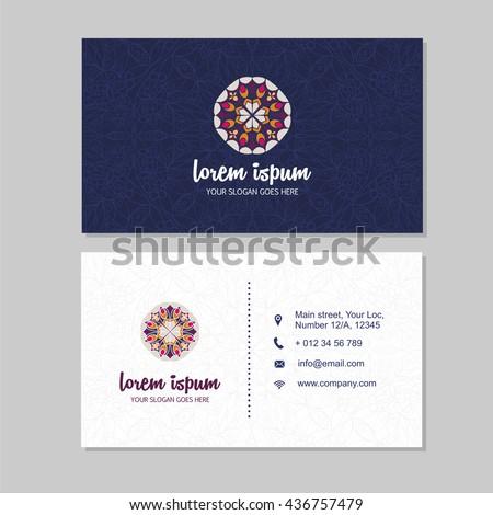 Visiting card business card set mandala stock vector 436757479 visiting card and business card set with mandala pattern and simple logo abstract oriental design colourmoves