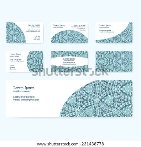 Visiting cards in winter colors with original pattern - set of 6 designs + banner. Visiting cards with a light blue ornament. - stock vector