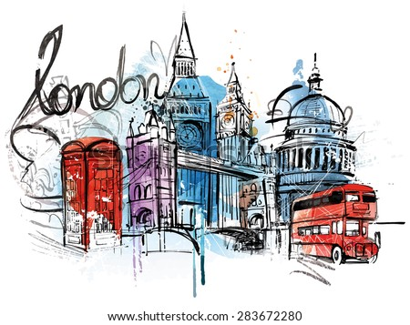 Visiting London - stock vector